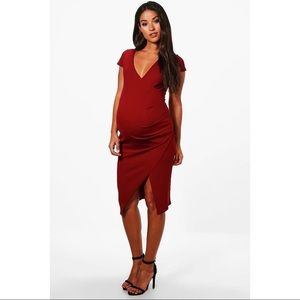 Maroon boohoo Maternity Wrap Dress